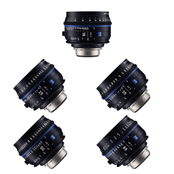 Zeiss Compact Prime CP.3 Lens Set 18mm, 25mm, 35mm, 50mm & 85mm
