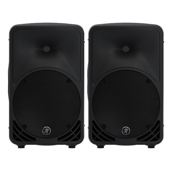 2x Mackie SRM 350 PA Speakers With Stands