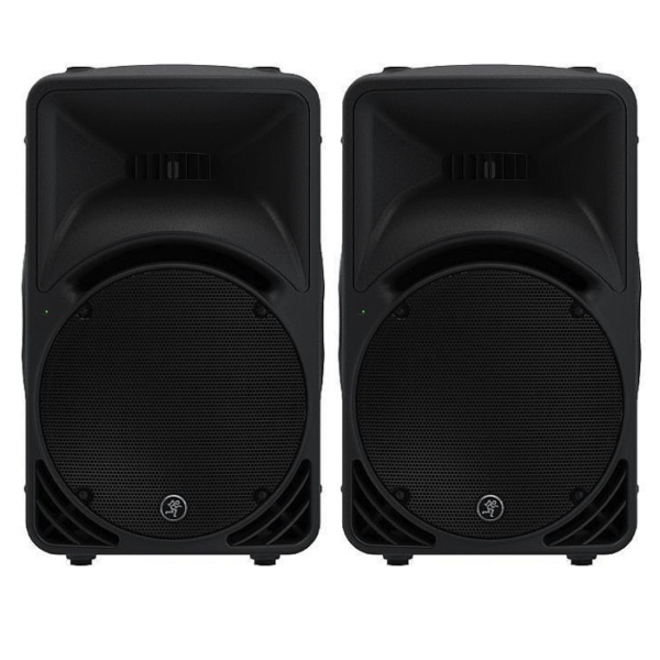 2x Mackie SRM 450 PA Speakers With Stands