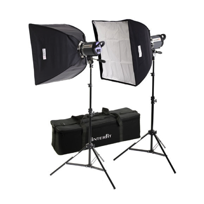 Softbox Interfit 1000W 2x Head Lighting Kit